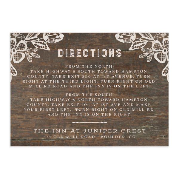 Woodgrain Lace Wedding Enclosure Cards