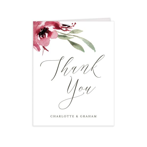 muted floral thank you cards in burgundy