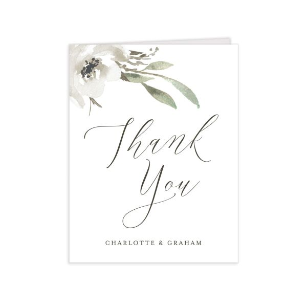 muted floral thank you cards in white