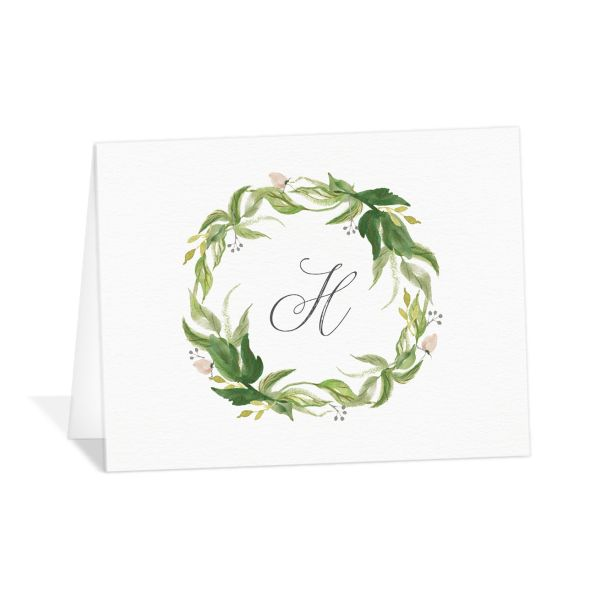 leafy wreath wedding thank you cards in green