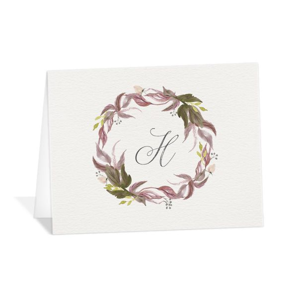 leafy wreath wedding thank you cards in purple