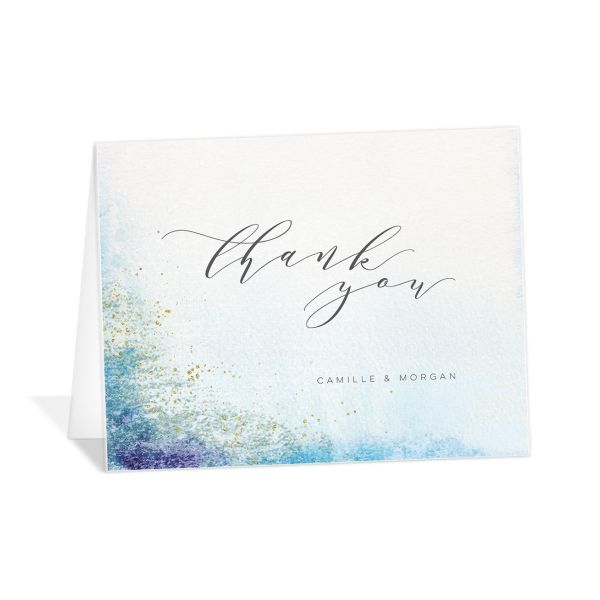 organic luxe wedding thank you cards in blue