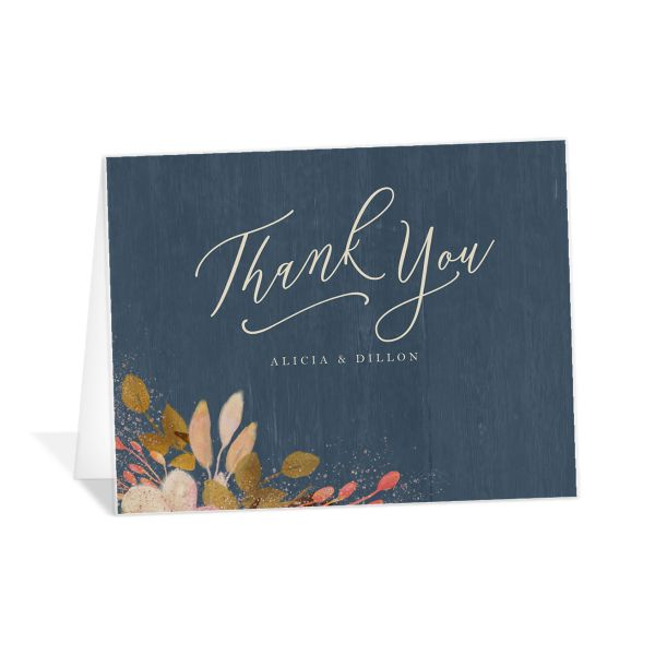 Rustic Leaves Wedding Thank You Cards