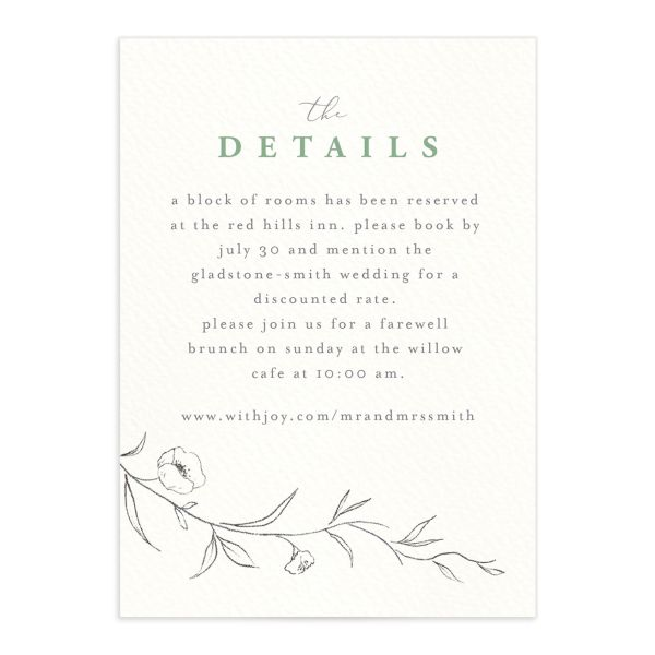 graceful botanical wedding details cards in green