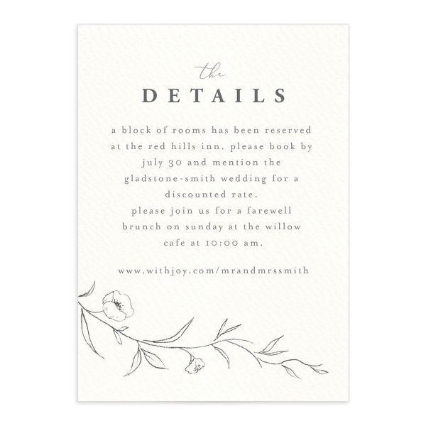 graceful botanical wedding details cards in grey