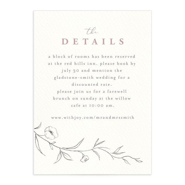 graceful botanical wedding details cards in pink