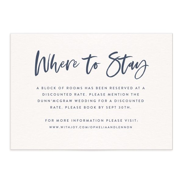 modern luxe wedding enclosure cards in blue