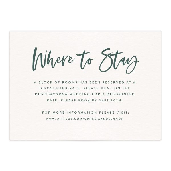 modern luxe wedding enclosure cards in green