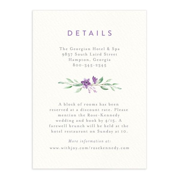 watercolor crest wedding enclosure cards in purple