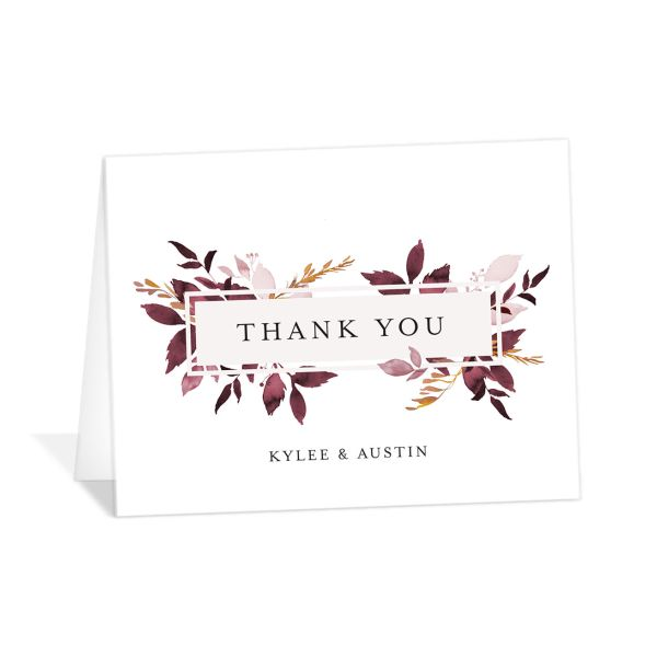 leafy frame thank you cards in burgundy