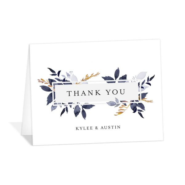 leafy frame thank you cards in navy