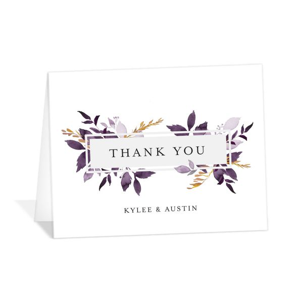 leafy frame thank you cards in purple