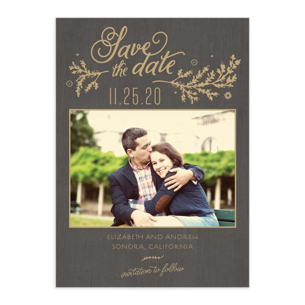 rustic chic photo save the dates in gold