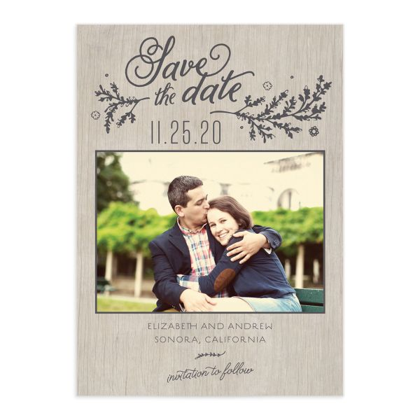 rustic chic photo save the dates in grey