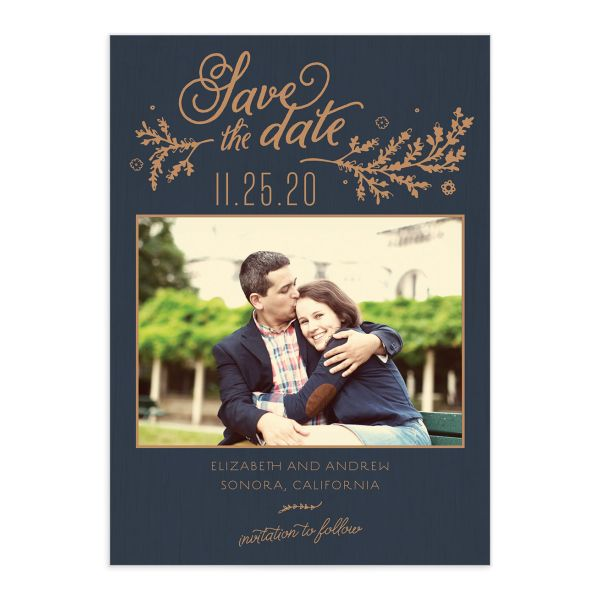 rustic chic photo save the dates in navy