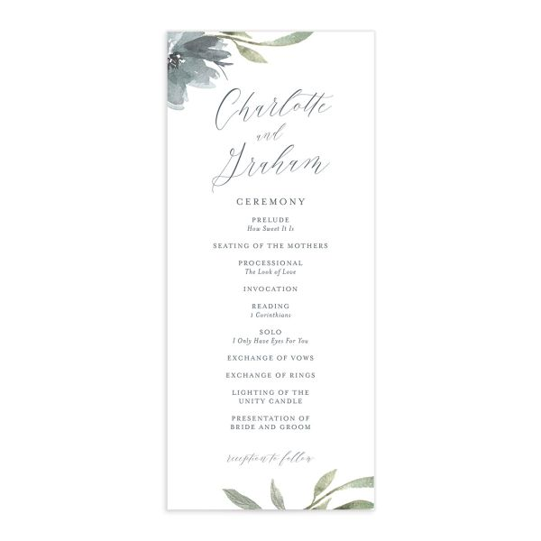 muted floral wedding programs in dusty blue