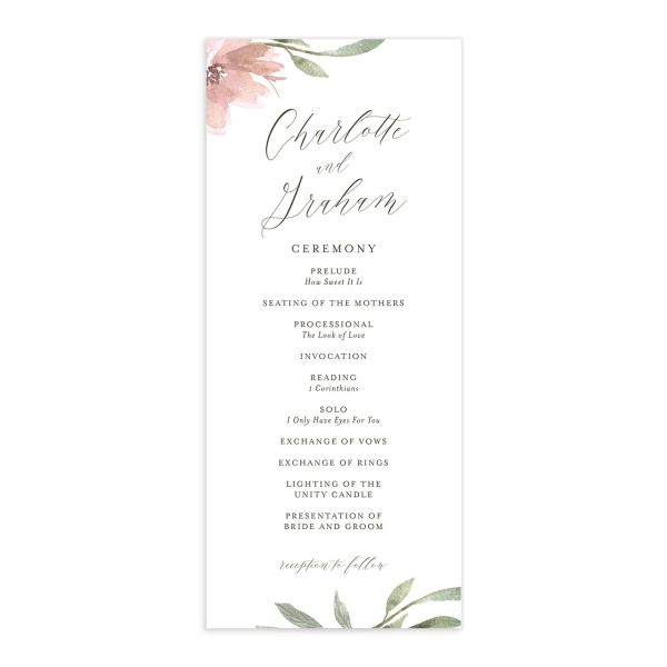 muted floral wedding programs in blush pink