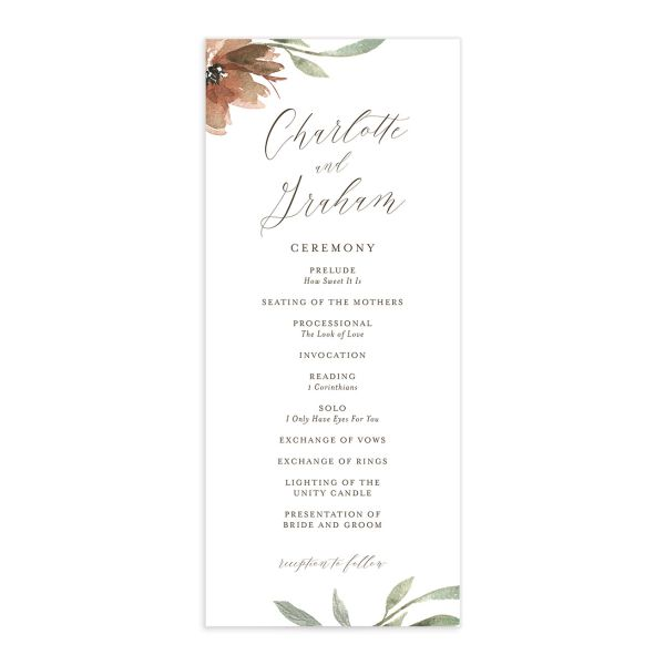 muted floral wedding programs in copper