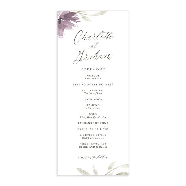 muted floral wedding programs in purple
