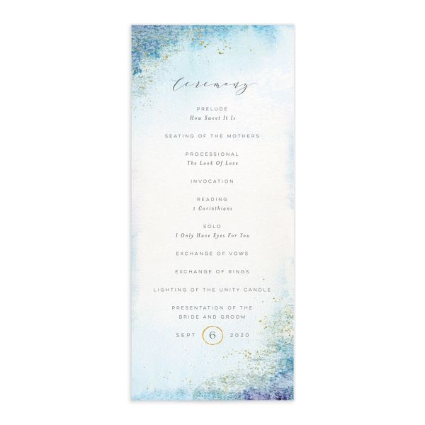 organic luxe wedding programs in blue