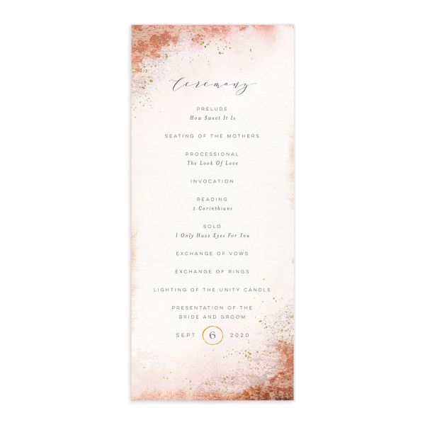 organic luxe wedding programs in orange
