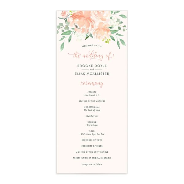 Romantic Floral Wedding Programs