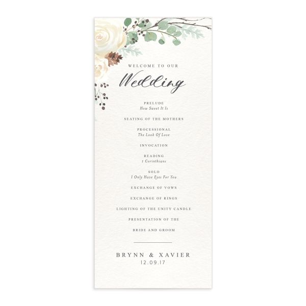 Rustic Botanical Wedding Programs