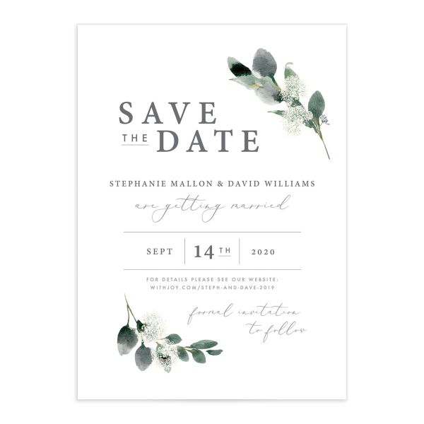 Elegant greenery wedding announcement