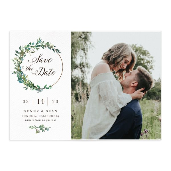 Greenery Hoops Wedding Save the Date closeup