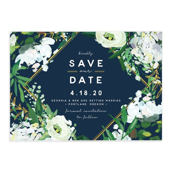 Painted Greenery wedding save the date in navy