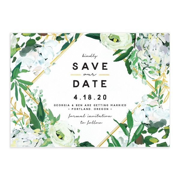 Painted Greenery wedding save the date in white