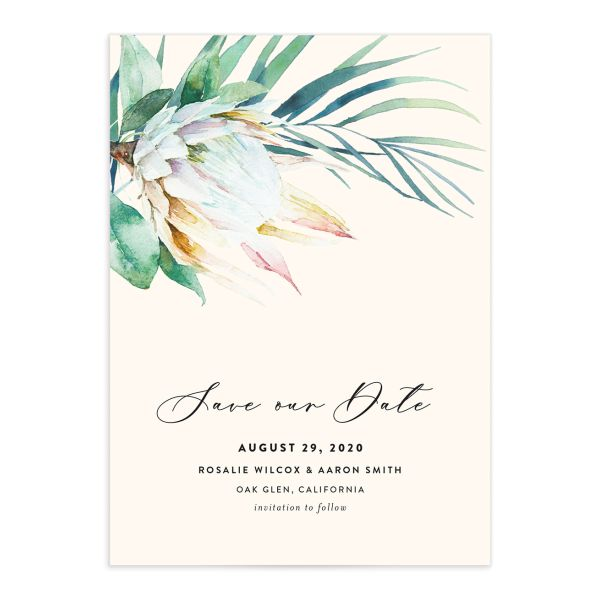 Palm and Protea Wedding Announcements front closeup