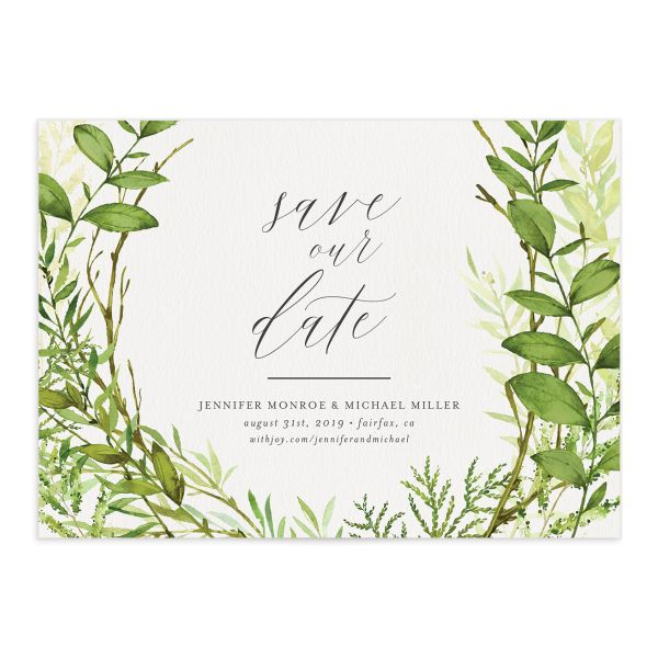 Watercolor Greenery wedding save the date front