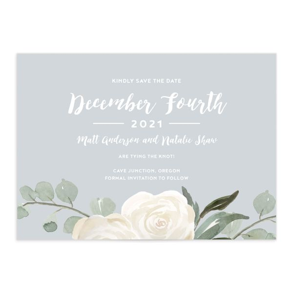 Wintry Floral Wedding Save the Date Cards front