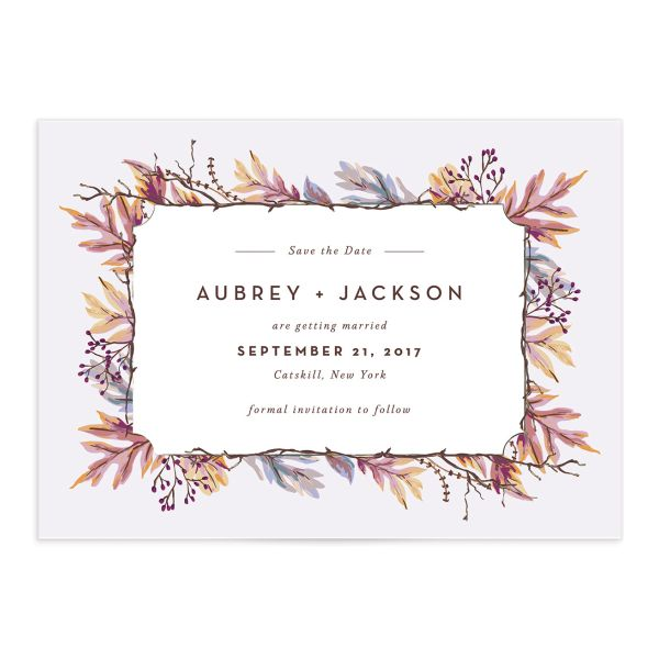 Autumn Leaves save the date card front