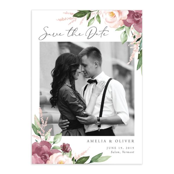 Beloved Floral Photo Save the Date Cards in Purple