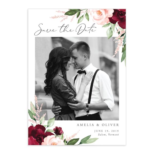 Beloved Floral Photo Save the Date Cards in Red