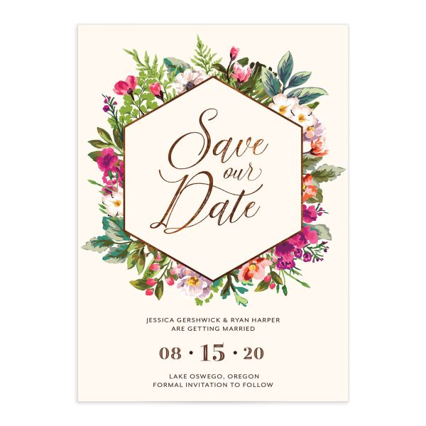 Bronze Floral Frame Wedding Save the Dates front
