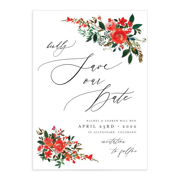 Cascading Altar wedding save the date cards in bright red