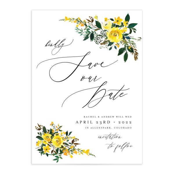 Cascading Altar wedding save the date cards in yellow