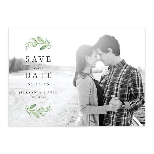 classic greenery save the date cards in pink