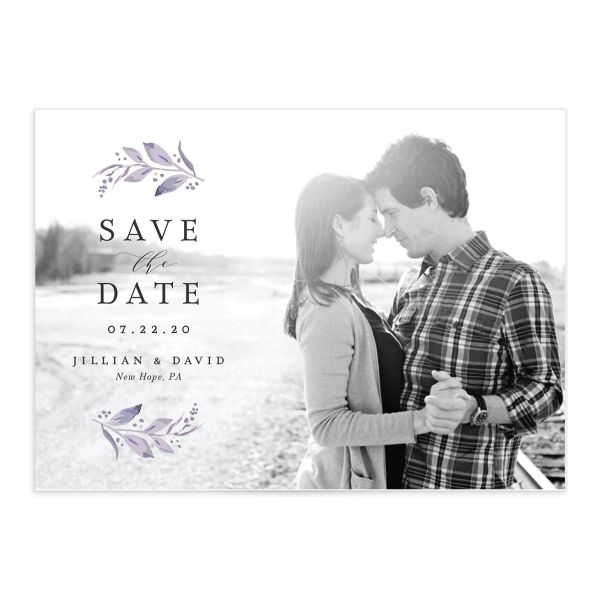 classic greenery save the dates in purple