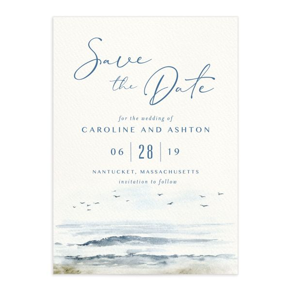 Coastal Love wedding save the date in blue front