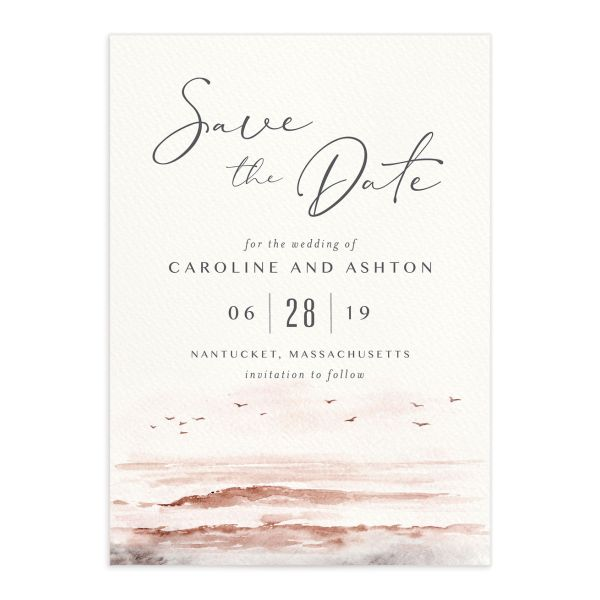 Coastal Love wedding save the date in grey front