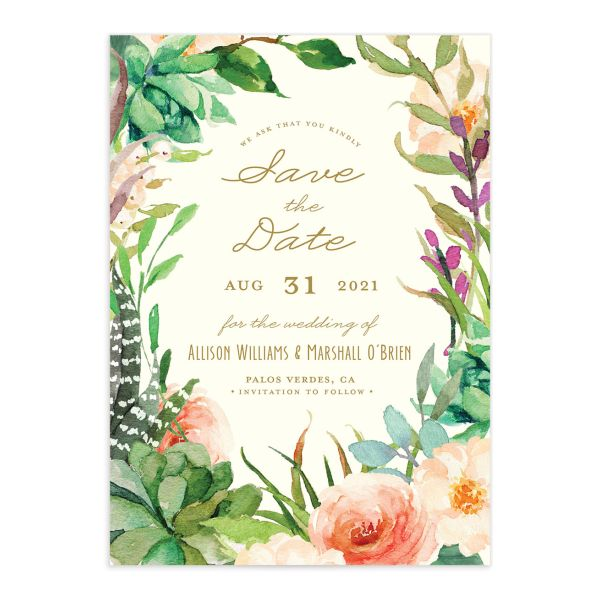 Elegant Oasis Save the Date cards front