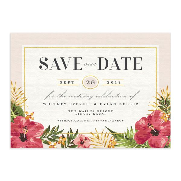 elegant organic destination save the date cards in pink