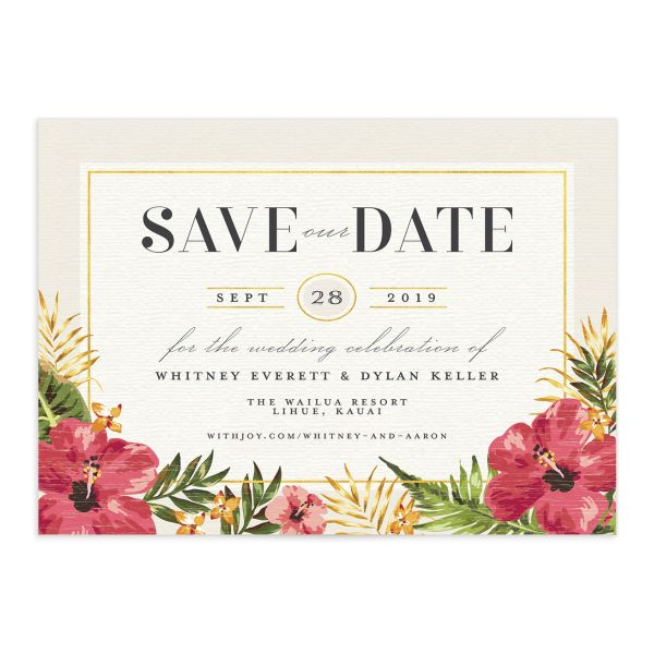elegant paradise save the dates in cream