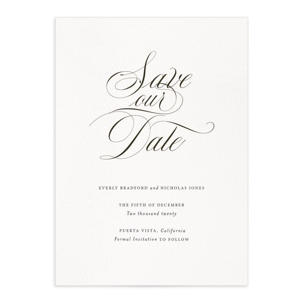 exquisite calligraphy elegant save the date cards