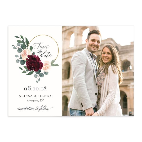 Floral Hoop Save the Date Photo Cards