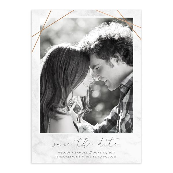 geometric marble photo save the dates